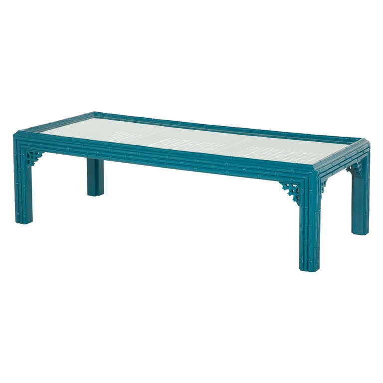 Vintage Turquoise Faux Bamboo Coffee Table At 1stdibs