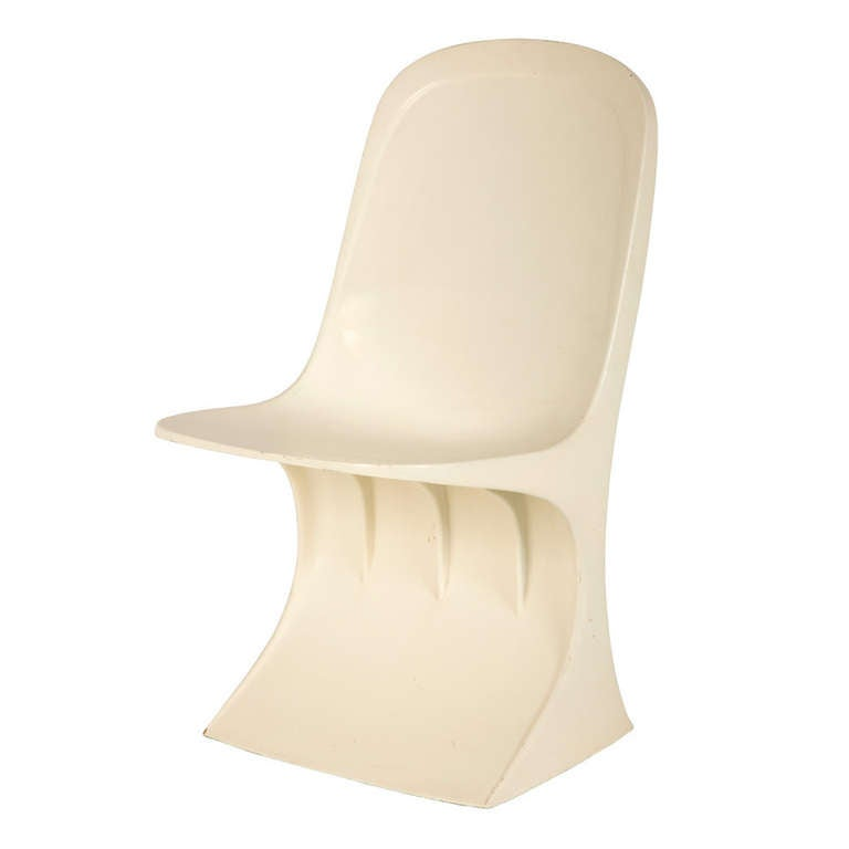 Vintage White Cantilever Chair For Sale