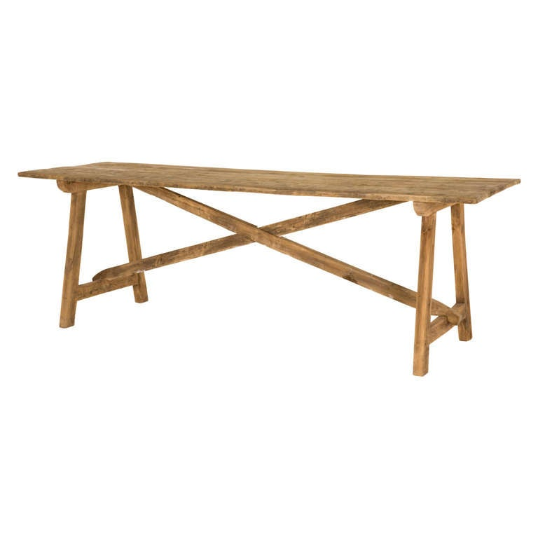 Antique beech wood trestle table at stdibs