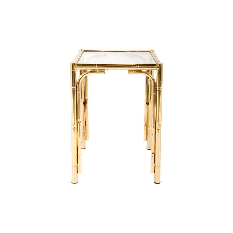 Vintage brass faux bamboo side table at 1stdibs for Bamboo side table