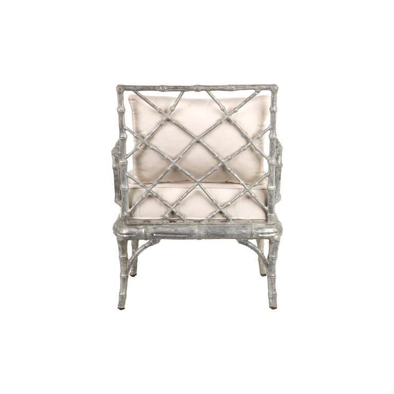 Vintage metal faux bamboo armchair at 1stdibs for Faux fini antique meuble