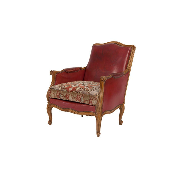 Vintage Red Leather Club Chair at 1stdibs
