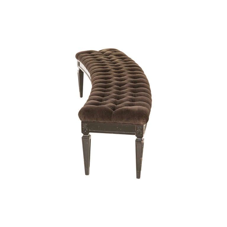 Vintage Curved Upholstered Bench At 1stdibs