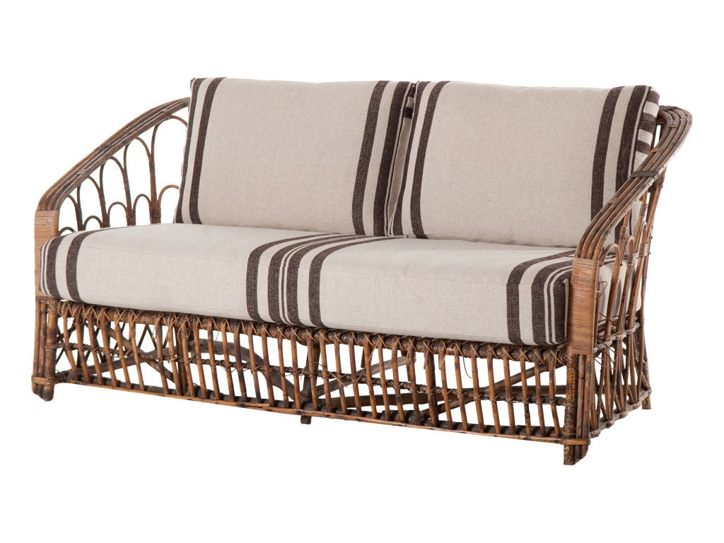 Vintage Wicker Loveseat At 1stdibs