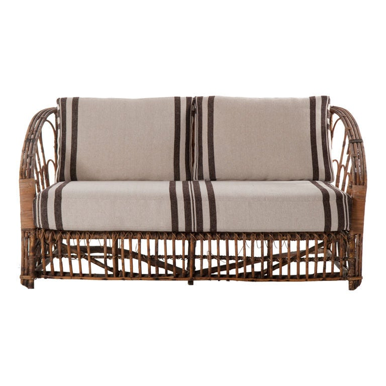 vintage wicker loveseat 1