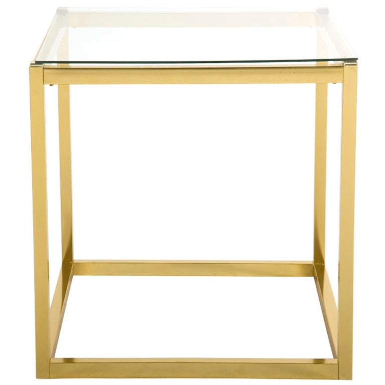 Vintage Square Brass End Table 1