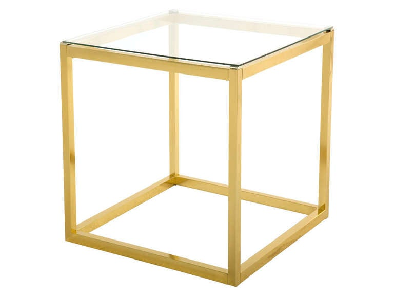 Vintage Square Brass End Table 2