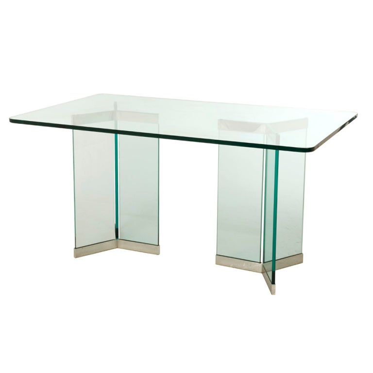 Vintage glass and chrome dining table at 1stdibs for Glass and chrome dining table
