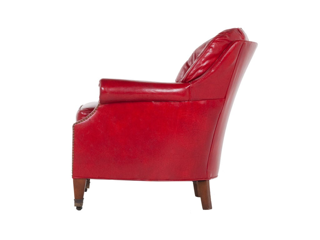 Vintage Leather Club Chair And Ottoman At 1stdibs
