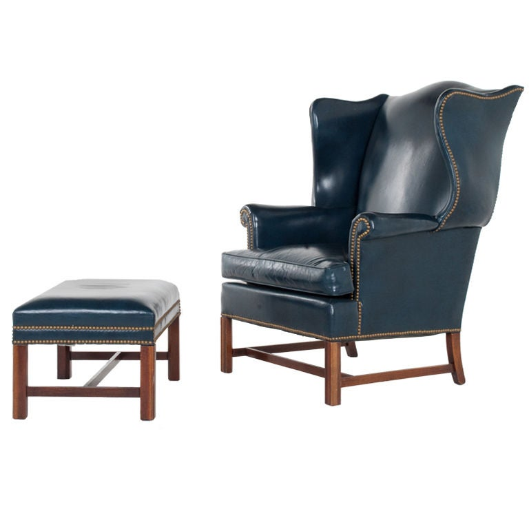 Vintage Leather Wing Chair and Ottoman at 1stdibs