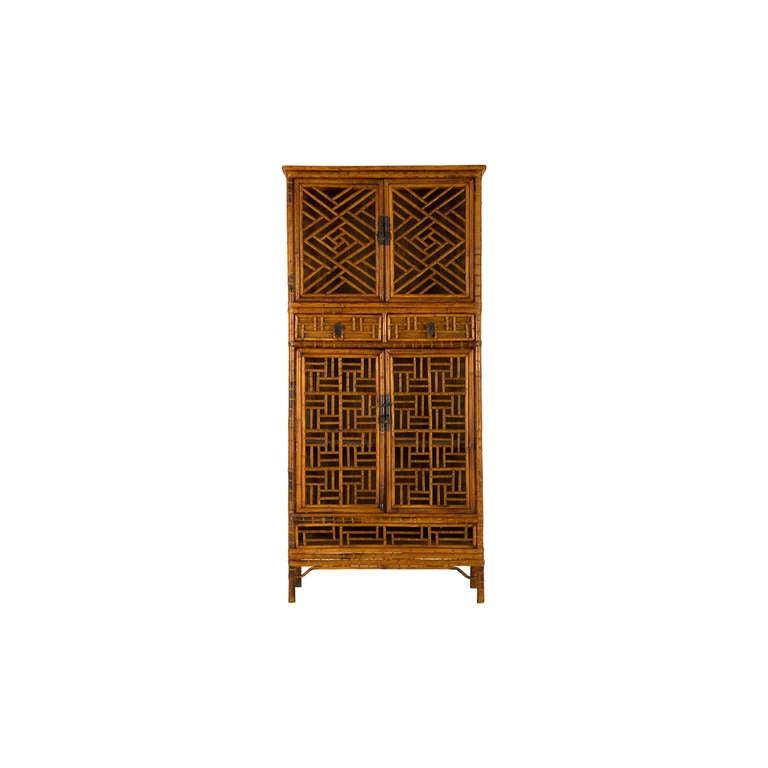 Vintage Fretwork Bamboo Cabinet 2