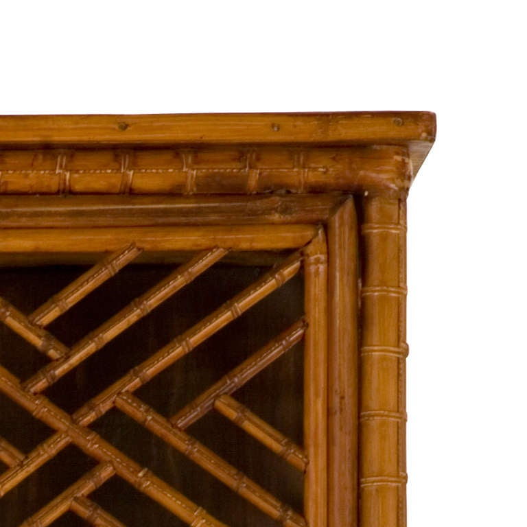 20th Century Vintage Fretwork Bamboo Cabinet For Sale