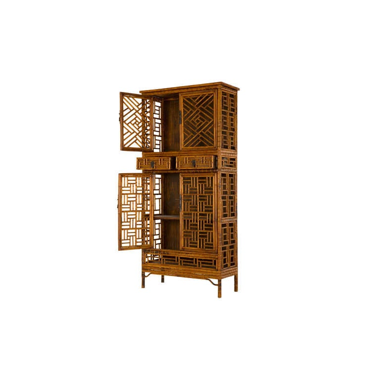 Vintage Fretwork Bamboo Cabinet In Excellent Condition For Sale In Chicago, IL