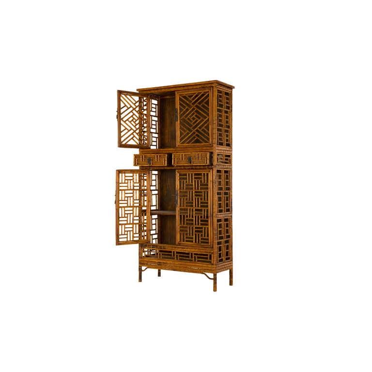 Vintage Fretwork Bamboo Cabinet 4