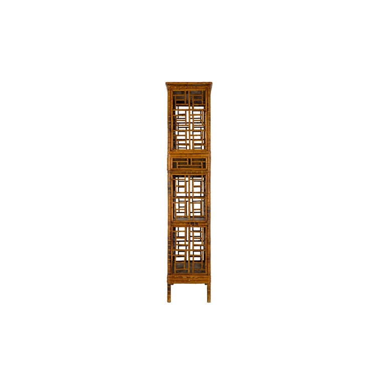 American Vintage Fretwork Bamboo Cabinet For Sale