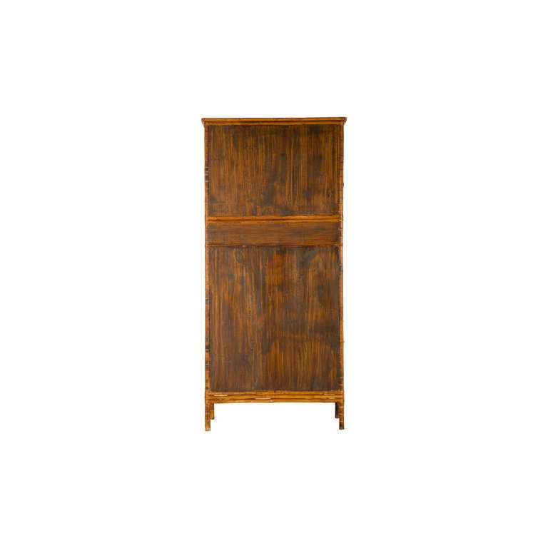 Brass Vintage Fretwork Bamboo Cabinet For Sale