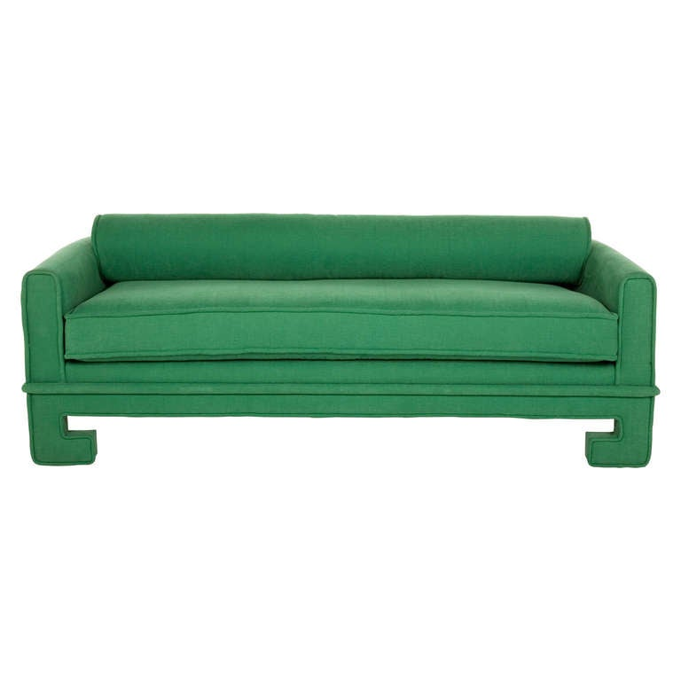 vintage sofa/daybed. reupholstered in ferris-jade cotton. bolster pillow along back.   •seat depth: 34.5â??D, with bolster 23.5â??D