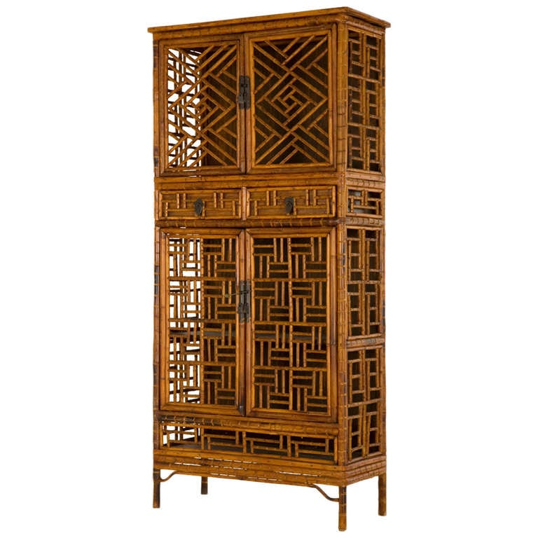 Vintage Fretwork Bamboo Cabinet For Sale