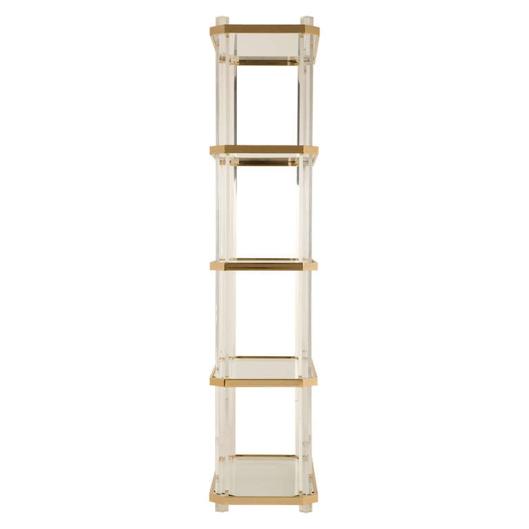 vintage lucite and brass etagere at 1stdibs. Black Bedroom Furniture Sets. Home Design Ideas