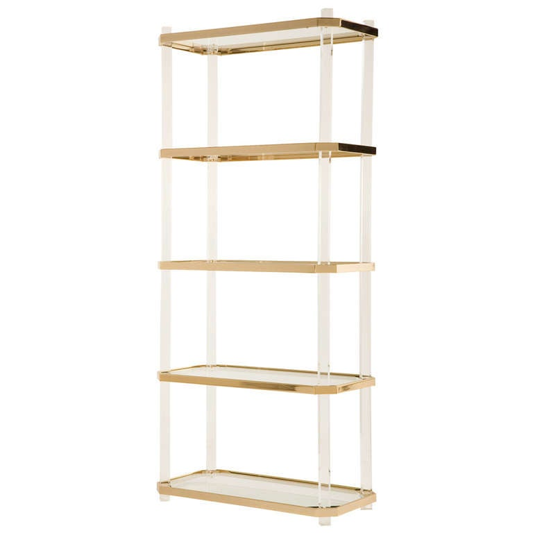 Vintage Lucite & Brass Etagere