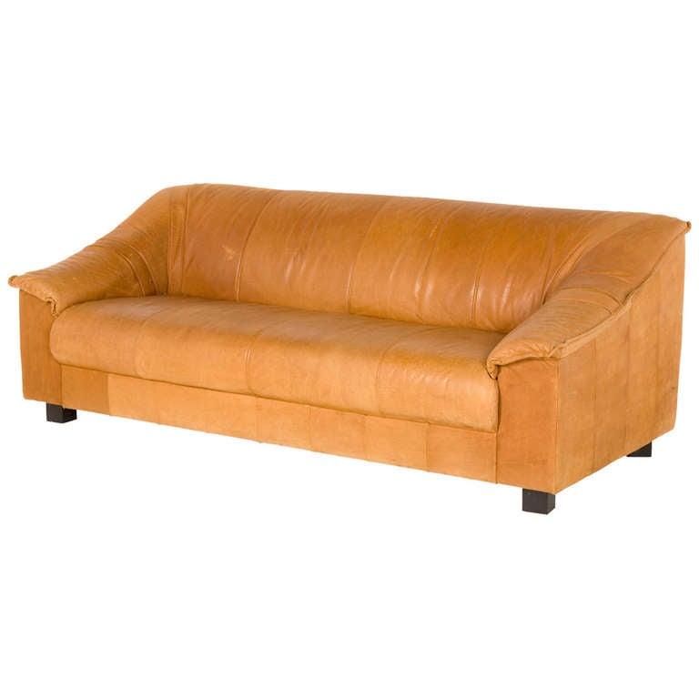 Vintage tan leather sofa at 1stdibs Vintage tan leather sofa
