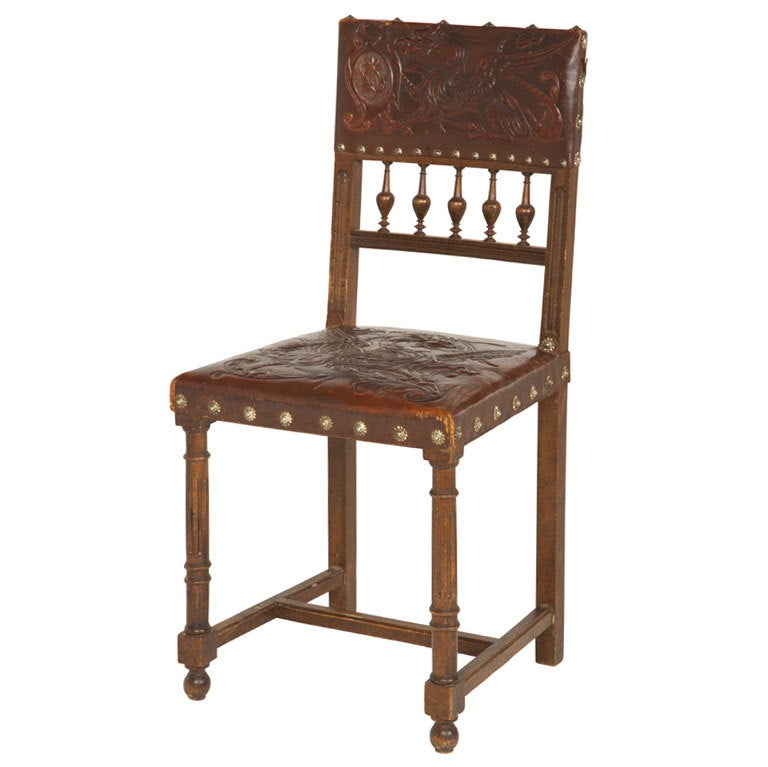 Antique Embossed Leather Dining Chair At 1stdibs