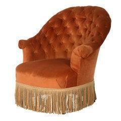 Antique Velvet Tufted Chair