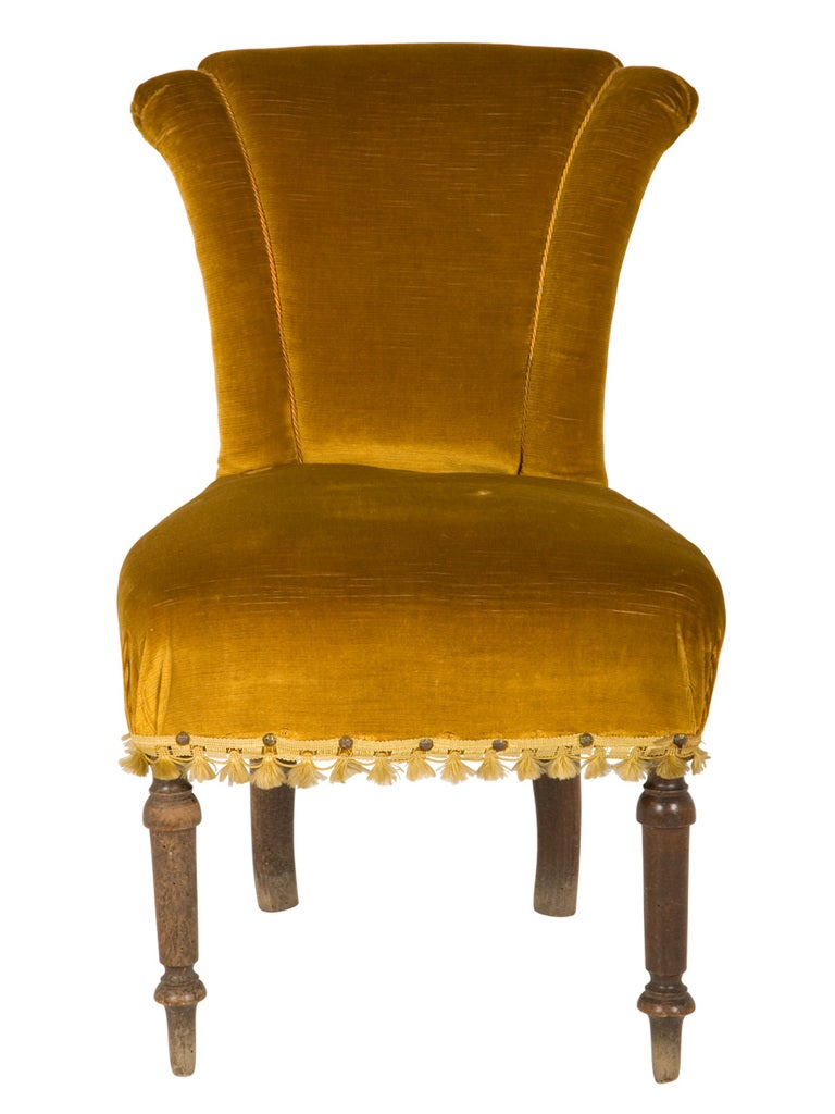 Antique Velvet Side Chair 2