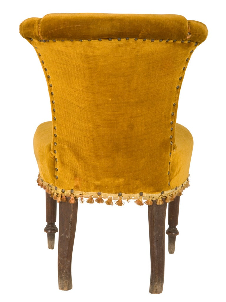 Antique Velvet Side Chair 4