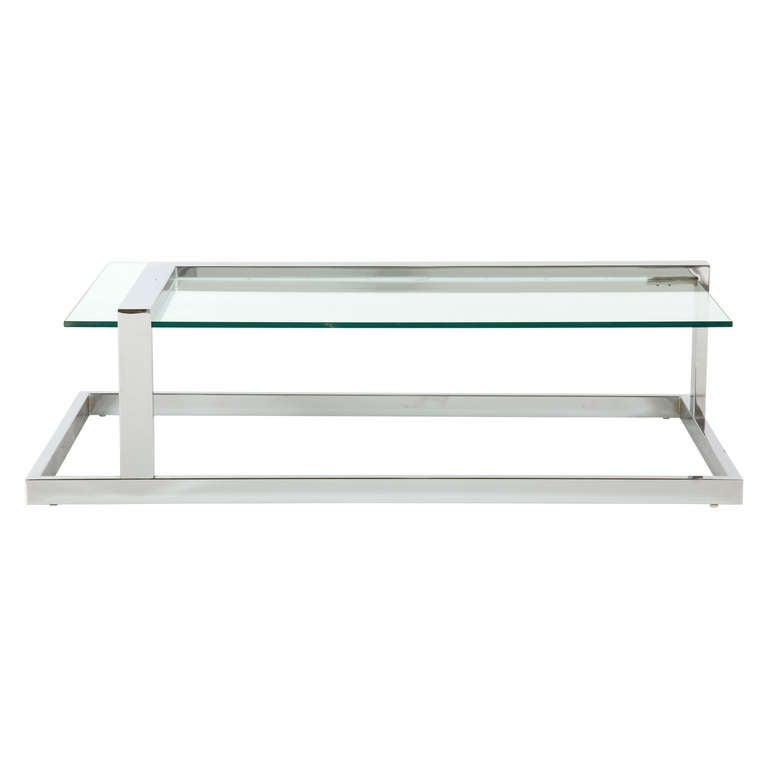 Vintage Chrome Cantilever Coffee Table At 1stdibs