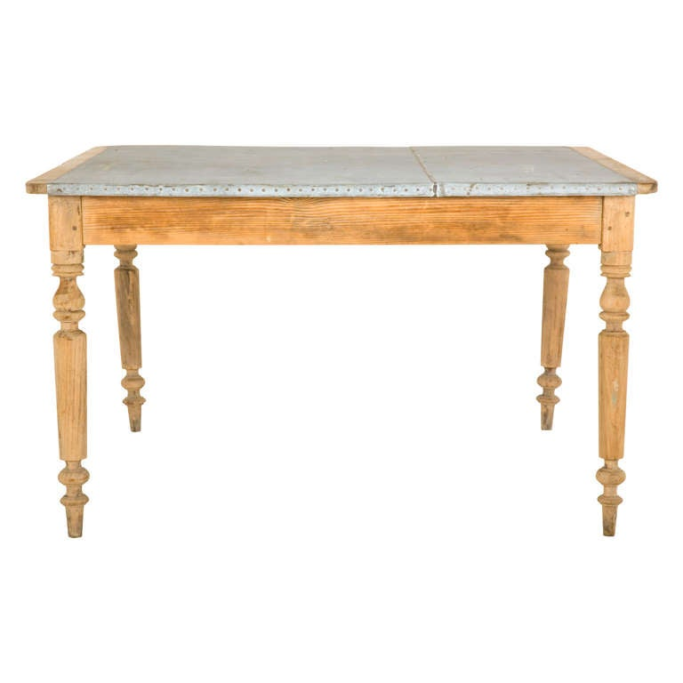 Antique Galvanized Steel Top Farmhouse Table at 1stdibs