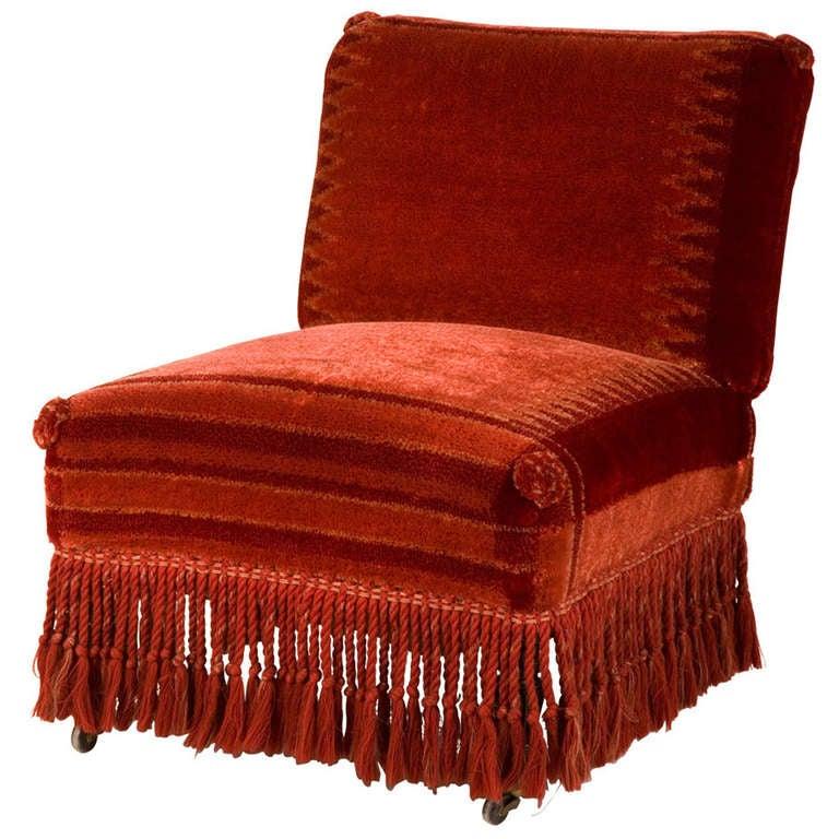 Antique Velvet Slipper Chair For Sale - Antique Velvet Slipper Chair At 1stdibs