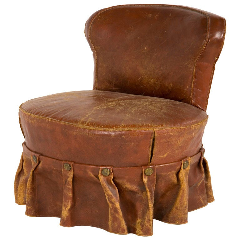 Antique Leather Slipper Chair 1