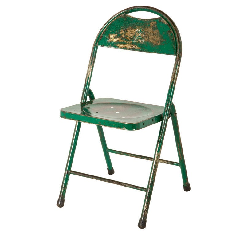 Vintage Metal Folding Chair at 1stdibs
