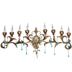 Hollywood Regency Italian  Gld Metal Tole  Aqua Crystals Wall Chandelier Sconce