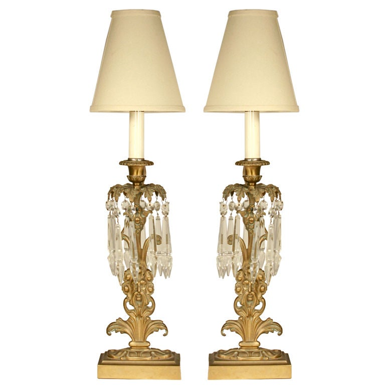 """Pair of Brass and Crystal """"Neptune"""" Lamps at 1stdibs"""