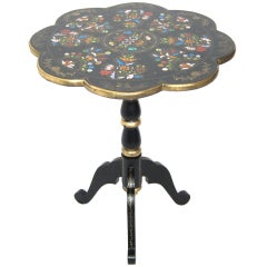 Vintage 1930s Ebony Hand Painted Tilt Top Side Table