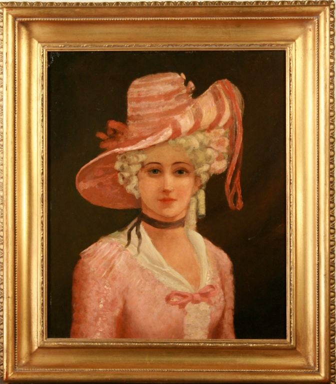 The portrait of this charming, if enigmatic, lady engages the viewer with absolute confidence. There is no signature. Based on the inscription on the backing paper, apparently the piece came from the gallery of M. Edwin Schillay in London. Mr.