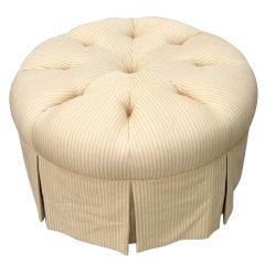 Vintage Re-Upholstered Tufted Yellow & White Pin Stripes Ottoman on Wheels