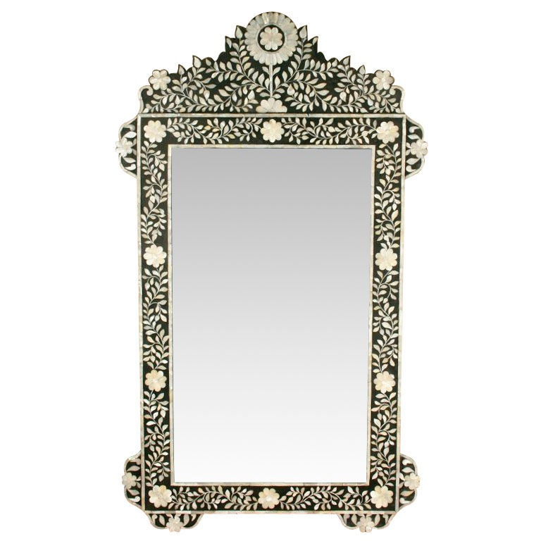 Large Anglo Indian Mother Of Pearl Inlaid Mirror At 1stdibs