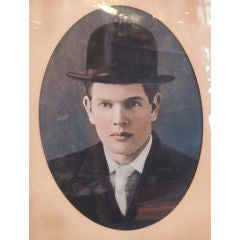 1900's Bowler Hat Young Man Autochrome Photo Period Frame