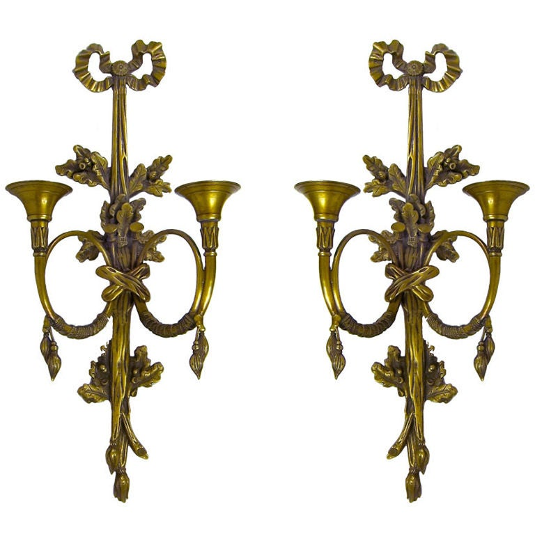 French Horn Brass Wall Candle Sconces Ribbon Leaves Tassel