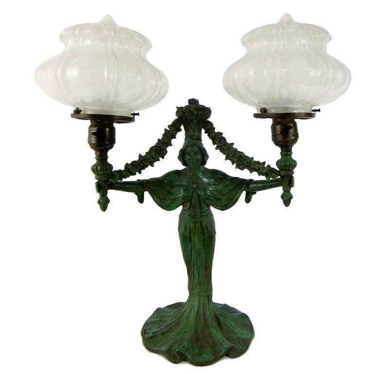 Art Nouveau Patina Green Mistress Of Lights Double Globe