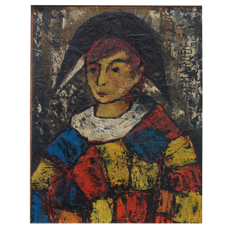 J Marque Pierrot Or Clown Figure Oil Painting At 1stdibs