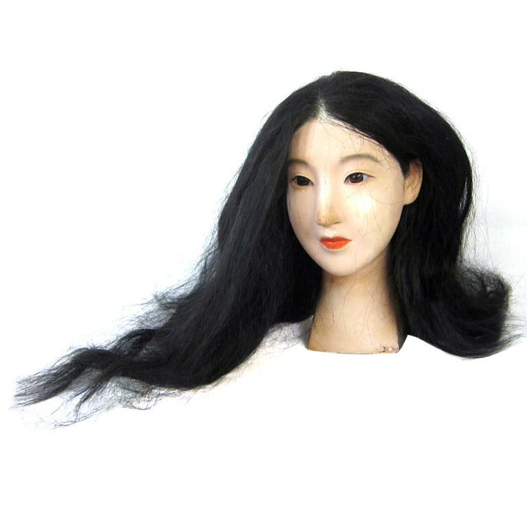 Vintage Pretty Asian Woman Mannequin Head Real Hair Glass