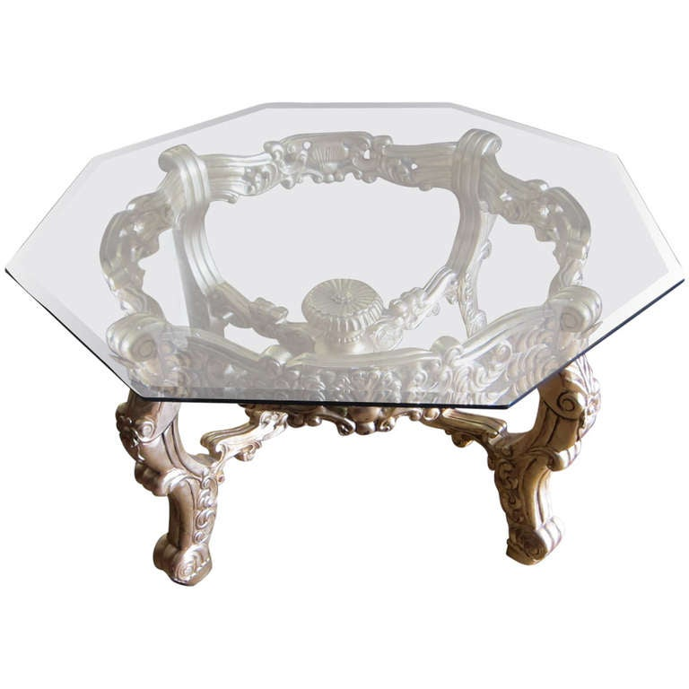 massive rococo revival ornate gold base and glass coffee cocktail table at 1stdibs. Black Bedroom Furniture Sets. Home Design Ideas
