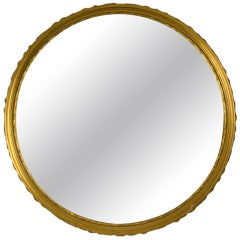 Hollywood Regency Carved Gold Round  Mirror