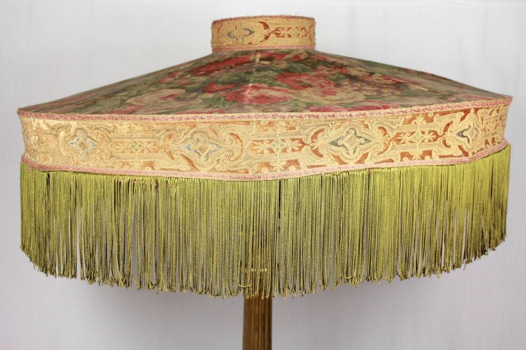 victorian carved gilded floor lamp floral fringe shade 71. Black Bedroom Furniture Sets. Home Design Ideas