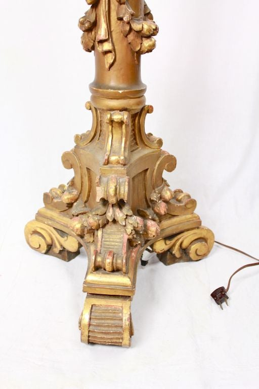 19th Century Victorian Carved Gilded  Floor Lamp  Floral Fringe Shade 71