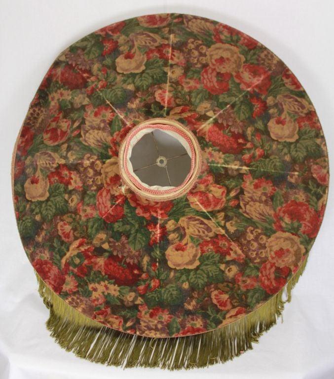 Victorian Carved Gilded  Floor Lamp  Floral Fringe Shade 71